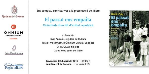 Aquest divendres 12 d'abril Gentil Puig presenta a Solsona el seu llibre El passat ens empaita