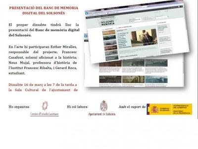 PRESENTACIÓ DEL BANC DE MEMÒRIA DIGITAL DEL SOLSONÈS